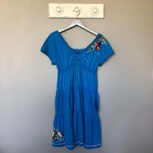 Johnny Was   Floral Embroidered Blue Dress